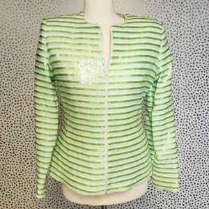 Karen Lawrence Vintage Green White Sequin Blazer